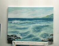 "Art16""/12""ocean,oil painting, seascape,surf, landscape, nature, realistic wave"