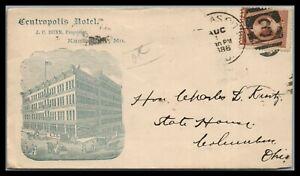 US 1886 Advertising cover the CENTROPOLIS Hotel Kansas city Mo. GORGEOUS