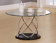 Coffee Table Clear Round Glass Top Chrome Spiral Frame Black Base Modern Table