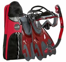 New Red Snorkel Set Mask Snorkelling Diving Scuba Full Adult Dive Fins Gear Kit