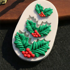 Cake Silicone Mold Christmas Holly  Fondant Chocolate Cookies Candy Molds T C Zg