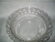 VINTAGE OPEN LACE CROCHET EDGE RIM SERVING BOWL