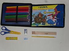 kit de vacances, étui bleu (12 crayons de couleur+livre à colorier+ciseau+ etc.)