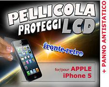 2 Pellicole DISPLAY PROTEZIONE SCHERMO LCD FRONTE RETRO APPLE IPHONE 5 + PANNO