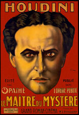 """HOUDINI Magic Show Theater Large French 16"""" X 22"""" Vintage Poster Repo FREE S/H"""