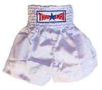 Short boxe Thaïlandaise Muay Thai THAISMAI satin blanc toutes tailles