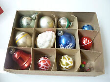 Vintage Christmas Tree Ornaments - 11 Glass Balls and Shapes + Bear - 1123