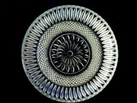 Vintage Pressed Daisy/Diamond Point Glass Salad / Dessert Plate - Made in Italy