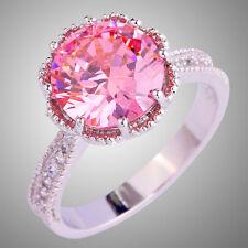 Fashion Women Round Cut Pink Topaz Garnet Gemstone Silver Ring Jewelry 10-11
