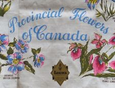 Tea Towel Provincial Flowers of Canada Linen Leacock & Co Unused Free Shipping