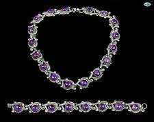 Vintage Set of Sterling Silver, Amethyst Necklace & Bracelet, Taxco Mexico