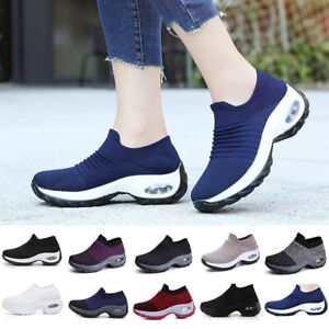 Womens Air Cushion Sock Sneakers Fit Trainers Running Comfy Walking Gym Shoes AU