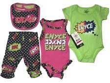 4PC Enyce OUTFIT LOT BABY TODDLER 3-6 MONTHS GIRLS LEGGINGS BIB BODYSUIT CREEPER