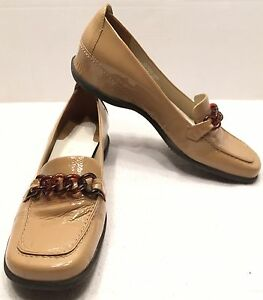 ENZO ANGIOLINI LIGHT BROWN PATENT LEATHER LOAFERS WOMENS SIZE 7 M EUC