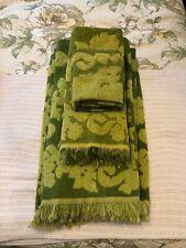 VINTAGE Cannon Monticello SET BATH TOWEL Hand  & WASHCLOTH Green Two Tone Flor