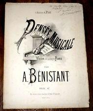 pensée musicale pour violon avec accompagnement de piano 1875 A. Bénistant signé