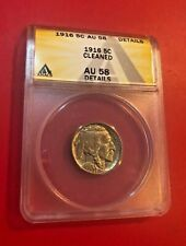 1916 Buffalo Nickel 5C Coin ANACS AU-58 DEATILS CLEANED