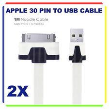 2X Cavo Dati PIATTO PER  30 PIN - Iphone 3 3G 4 4S iPad Ipod