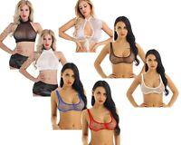 Women's Mesh Sheer Bra Top Halter Bralette See Through Crop Tops Raves Dancewear
