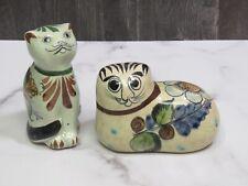 Two Tonala Mexico Pottery Signed Hand Painted Folk Art Cats