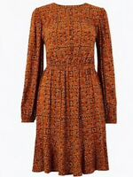 M&S ladies Tile Ditsy Print Midi Dress Boho Hippy Brown Mix Size 12 Long Sleeve