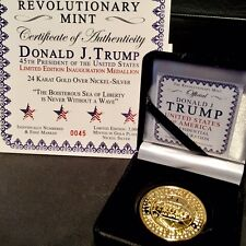 Golden 2017 TRUMP Inauguration Coin ~ Rare Series I ~ Serialized w Certificates