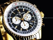 New Air Blue Deep Blue Navigator Swiss Chrono PANDA Dial Polished Gold IP Watch