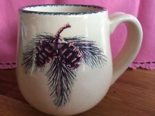Home & Garden Party Northwoods Mug Cup Coffee Pinecone Sponge HTF Stoneware