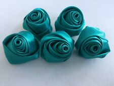 Rose Shaped Lapel Stud Pin - Teal Blue Silky Texture 1 1/4 Inch