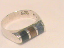 Inlaid Stone Ring Sterling 925 Mexico size 6
