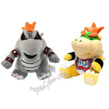 2pcs Super Mario Bros Dry Bowser Bones & Bowser Jr. Koopa Plush Doll Toy Gift