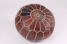 Vintage Moroccan Leather pouffe- Dark Tan & White Stitches - (Filled) 55x55x30cm