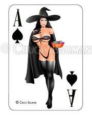 Sexy Pin-Up Girl playing card sticker SEXY WITCH  Guitar Art