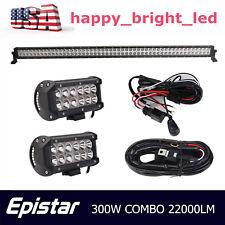"52""  300W LED Work Light Bar Slim Combo+2X 36W Spot Lamps+2X Wiring Harness Kit"
