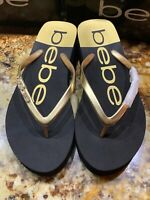 Bebe Women's Thong Flip Flops Sandals Size 7 US Black Gold With Embellishment
