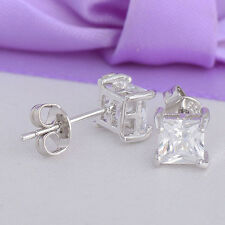 LADY 925 STERLING SILVER  CLEAR SQUARE CUBIC ZIRCONIA EAR STUDS EARRINGS
