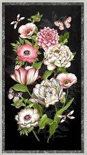 "23"" Fabric Panel - Wilmington Tivoli Garden Pink & Green Floral Scene on Black"