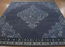 8' x 10' Pottery Barn Bryson Navy Persiann Style New Hand Tufted Wool Rug