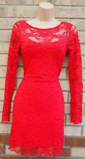 H&M RED LACE LONG SLEEVE BODYCON TUBE PARTY EVENING SEXY DRESS 8 10 S
