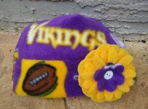 Minnesota Vikings Fleece Flower Hat  Newborn Baby Girls, Children, Adult Women