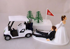 Wedding Reception Party Dark Hair Golf Cart Cake Topper Bride Dragging Groom
