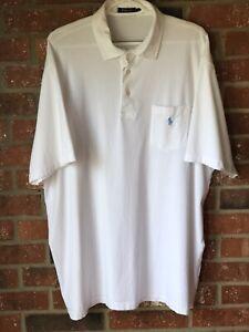 Mens Polo Ralph Lauren 2XLT Short Sleeve Lightweight Cotton Polo White Blue Pony
