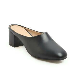 Women Round Toe Slingbacks Sandals Chunky Mid Heels Slip On Slipper Casual Shoes