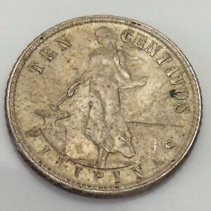 1945 Ten Centavos Filipinas United States Philippine Silver Circulated Coin E756