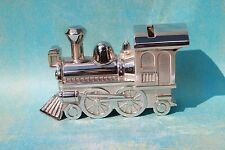 Silver Tone Polished Railroad Train Engine Locomotive Coin Bank