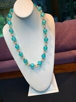 Vintage 1950's Aqua Blue Clear  Lucite Beaded Necklace Brass Accent Beads