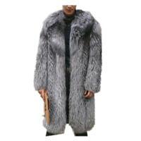 S-6XL Mens Mid Long Faux Fox Fur Parka Furry Coat Overcoats Thicken Warm Work D