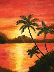 """Tropical Sunset"" Original Painting- De Martino Art"