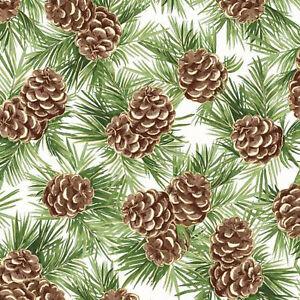 Maywood Christmas Glad Tidings Soft White Pinecones w/Metallic 9822M-SW  fabric