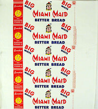 Vintage bread wrapper MIAMI MAID from 1959 indian girl Dayton Ohio new old stock